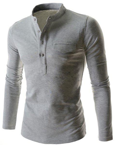 Simple Stand Collar Pure Color Long Sleeve Men's T-Shirt - LIGHT GRAY XL