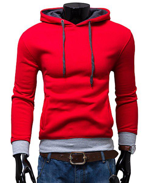 Hooded Color Block Rib Spliced Long Sleeve Men's Hoodie 173706203