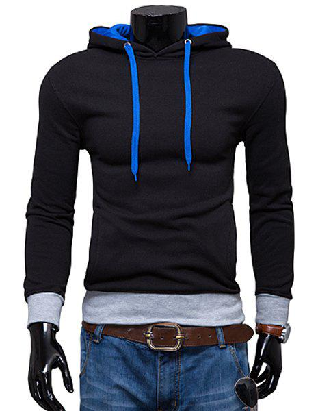 Hooded Color Block Rib Spliced Long Sleeve Men's Hoodie - BLACK L