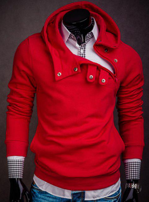 Hooded Inclined Button Design Solid Color Long Sleeve Men's Hoodie - RED M