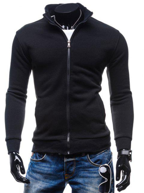 Simple Stand Collar Solid Color Rib Spliced Long Sleeve Men's Sweatshirt - BLACK XL