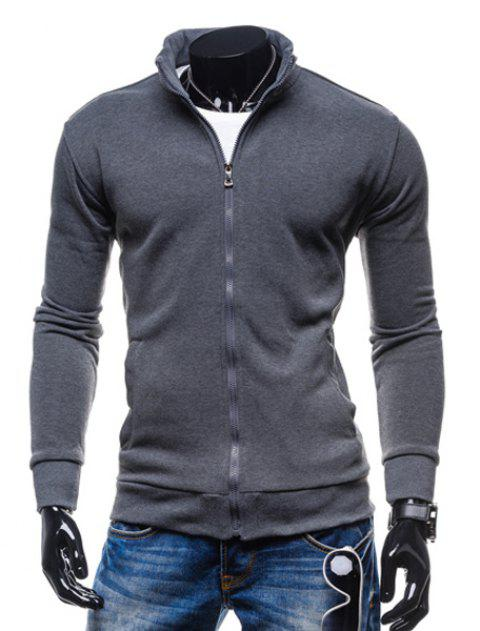 Simple Stand Collar Solid Color Rib Spliced Long Sleeve Men's Sweatshirt - DEEP GRAY 2XL