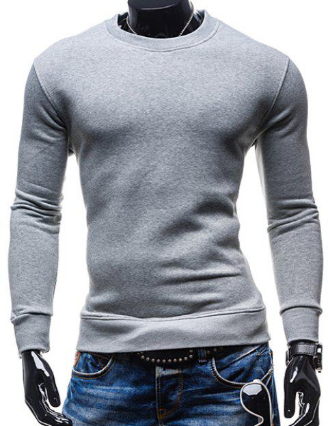 Simple Round Neck Solid Color Rib Spliced Long Sleeve Men's Sweatshirt - GRAY M