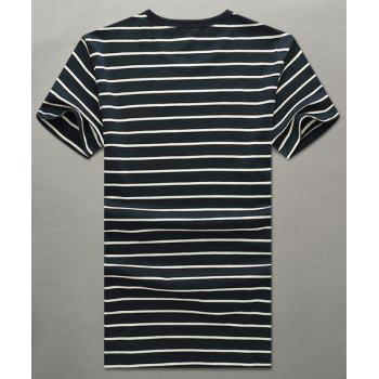 Round Neck 3D Stripe and Letters Printed Short Sleeve Men's T-Shirt - DEEP BLUE L