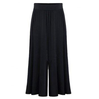 Trendy Elastic Waist Pure Color Wide Leg Pants For Women - BLACK 6XL