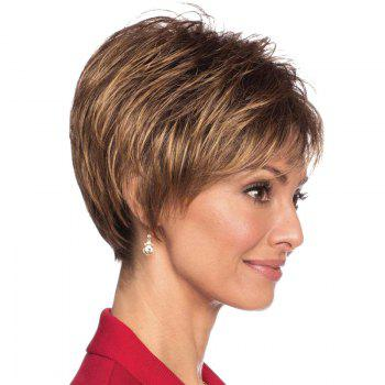 Human Hair Capless Fluffy Ultrashort Wig For Women -  DARK BROWN