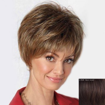Human Hair Capless Fluffy Ultrashort Wig For Women - DARK  BROWN DARK BROWN