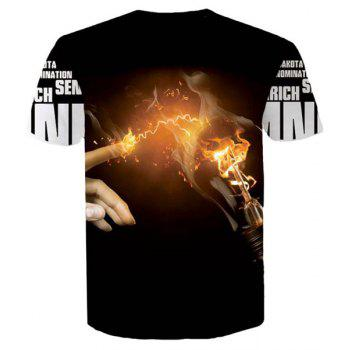 Letters Hand Flame 3D Printed Round Neck Short Sleeves Men's Slim Fit T-Shirt - BLACK XL