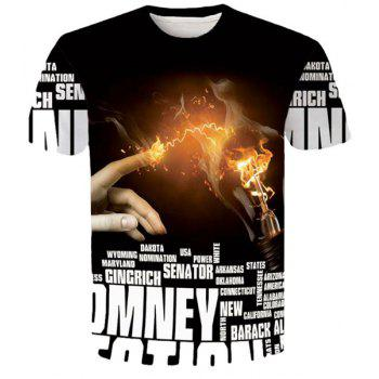 Letters Hand Flame 3D Printed Round Neck Short Sleeves Men's Slim Fit T-Shirt