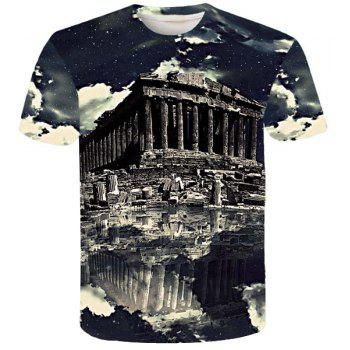 Modern Style Round Neck Historic Building Print Short Sleeves Men's 3D T-Shirt
