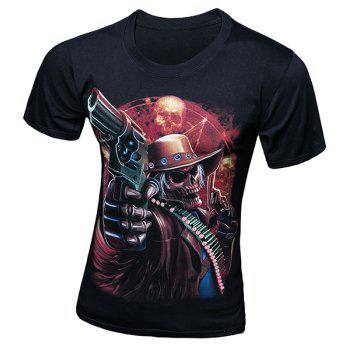 Stylish Round Neck 3D Skull Gunner Pattern Short Sleeve Men's T-Shirt