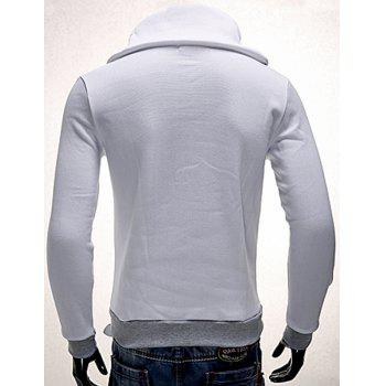 Turn-Down Collar Rib Splicing Zipper Design Long Sleeve Men's Sweatshirt - NATURAL WHITE LIGHT L