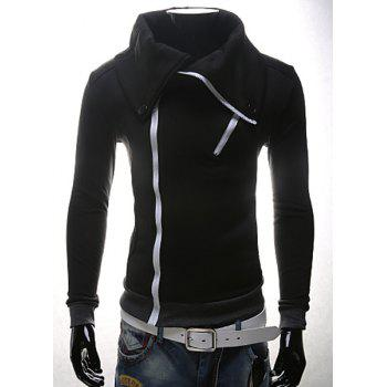 Turn-Down Collar Rib Splicing Zipper Design Long Sleeve Men's Sweatshirt