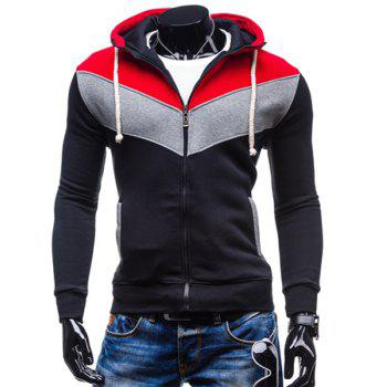 Hooded Color Block Spliced Long Sleeve Men's Hoodie