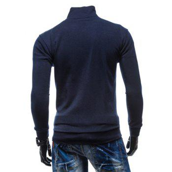 Simple Stand Collar Solid Color Rib Spliced Long Sleeve Men's Sweatshirt - CADETBLUE M