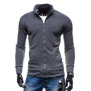 Simple Stand Collar Solid Color Rib Spliced Long Sleeve Men's Sweatshirt