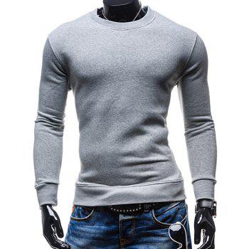Simple Round Neck Solid Color Rib Spliced Long Sleeve Men's Sweatshirt