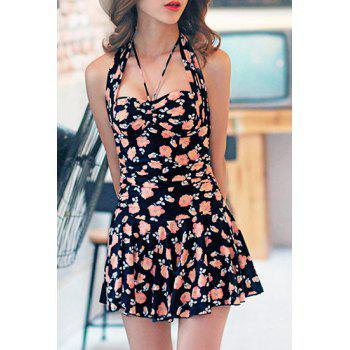 Trendy Women's Halterneck Floral Print Flounce One-Piece Swimsuit