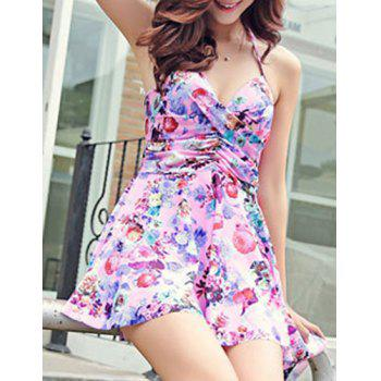 Sexy Halter Asymmetrical Floral Print Two-Piece Women's Swimsuit