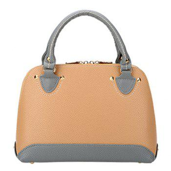 Fashion Lichee Pattern and PU Leather Design Tote Bag For Women - APRICOT