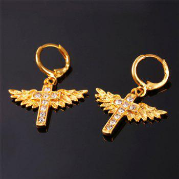 Cross Wings Pendant Necklace and Earrings - GOLDEN