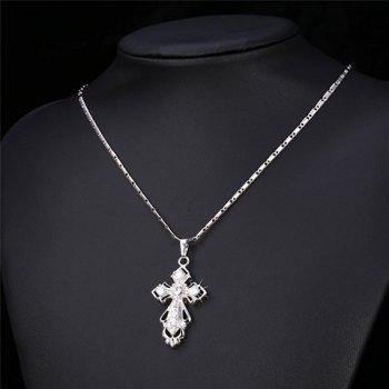 Stunning Rhinestone Crucifix Pendant Necklace For Women