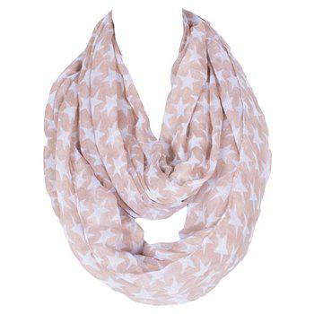 Chic Hemming Five-Pointed Star Printing Voile Bib Scarf For Women
