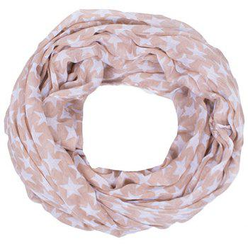 Chic Hemming Five-Pointed Star Printing Voile Bib Scarf For Women - APRICOT