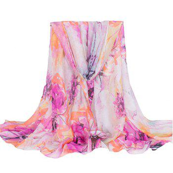 Chic Ethnic Colorful Floral Printing Voile Scarf For Women