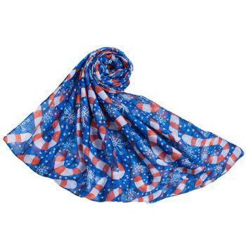 Chic Hemming Snowflake and Candy Cane Printing Voile Scarf For Women - DEEP BLUE