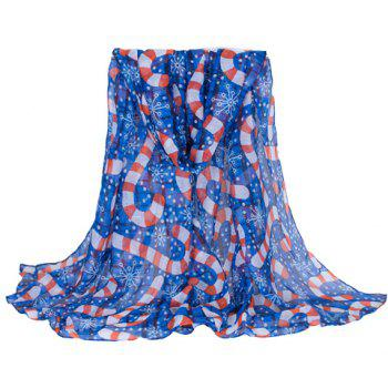 Chic Hemming Snowflake and Candy Cane Printing Voile Scarf For Women