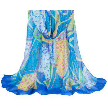 Chic Hemming Chain and Striped Printing Color Matching Voile Scarf For Women