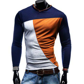 V-Neck Color Block Spliced Long Sleeve Men's T-Shirt