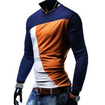 T-shirt col en V Color Block Spliced ​​manches longues hommes - Orange M
