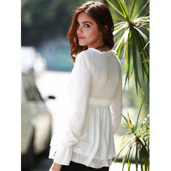 Stylish Plunging Neck Long Flare Sleeve Elastic Waist Solid Color Women's Blouse - WHITE L