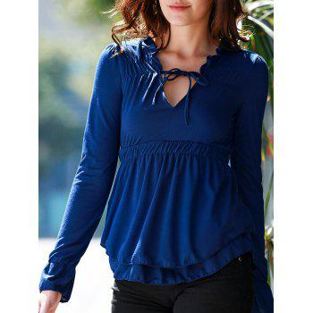 Stylish Plunging Neck Long Flare Sleeve Elastic Waist Solid Color Women's Blouse