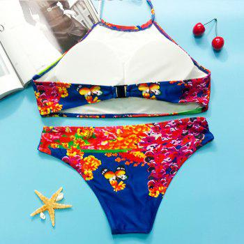 Colorful Women's Halter Butterfly Pattern Bikini Set - COLORMIX S