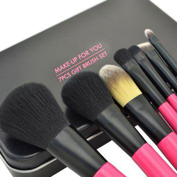Cosmetic 7 Pcs Soft Germproof Pony Hair Makeup Brushes Set with Iron Box - BLACK