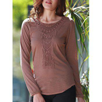 Concise Scoop Neck Hollow Out Crochet Spliced Solid Color T-Shirt For Women