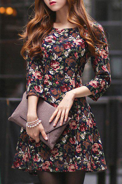 Elegant 3/4 Sleeve Floral Print High Waist Dress For Women - COLORMIX M