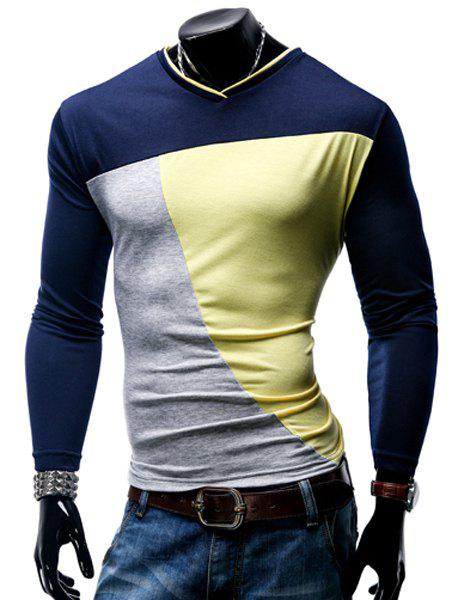 T-shirt col en V Color Block Spliced ​​manches longues hommes - Jaune 2XL
