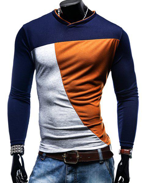 V-Neck Color Block Spliced Long Sleeve Men's T-Shirt 173707924