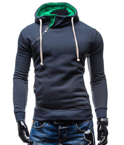 Hooded Inclined Zipper Design Rib Spliced Long Sleeve Men's Hoodie - CADETBLUE L