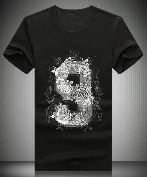Round Neck 3D Flower and Number Printed Short Sleeve Men's T-Shirt - XL BLACK