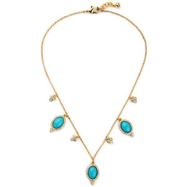 Retro Oval Faux Turquoise Necklace