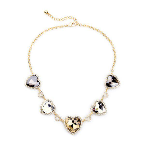 Stylish Heart Faux Crystal Necklace For Women -  GOLDEN