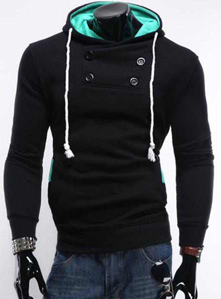 Hooded Rib Splicing Button Embellished Long Sleeve Men's Hoodie