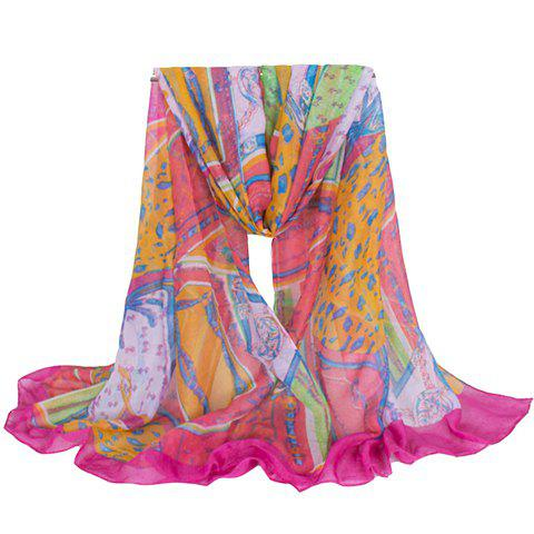 Chic Hemming Chain and Striped Printing Color Matching Voile Scarf For Women stylish hemming chain and striped printing color matching voile scarf for women