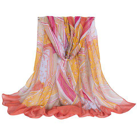 Chic Hemming Chain and Striped Printing Color Matching Voile Scarf For Women - ORANGEPINK