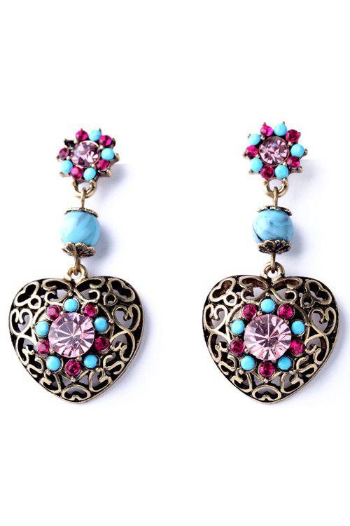 Pair of Retro Hollow Out Heart Earrings For Women - COPPER COLOR
